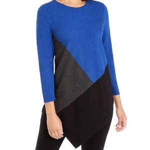 Alfani Petite Asymmetrical Tunic Blue Sweater